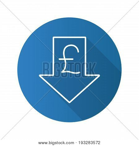 Pound rate falling flat linear long shadow icon. Great Britain pound with down arrow. Vector outline symbol