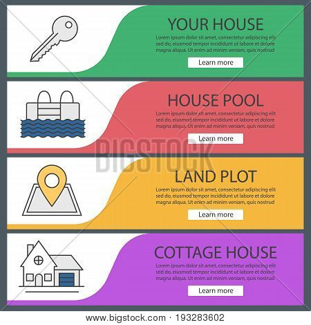 Real estate web banner templates set. Key, swimming pool, building location, cottage. Website color menu items. Vector headers design concepts