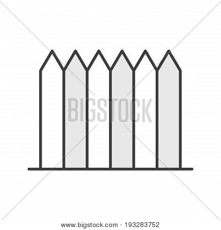 Wooden fence color icon. Picket. Isolated vector illustration
