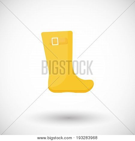 Rainboots vector flat icon Flat design of rainy weather clothing isolated on the white background with round shadows vector illustration