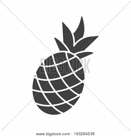 Pineapple glyph icon. Silhouette symbol. Ananas. Negative space. Vector isolated illustration