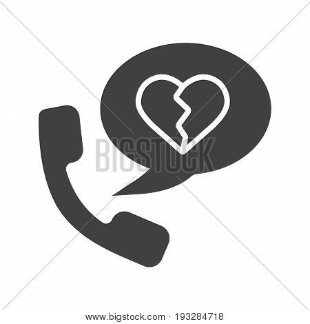 Breakup by phone glyph icon. Silhouette symbol. Handset with heartbreak inside chat bubble. Negative space. Vector isolated illustration