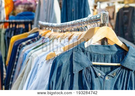 Rail Of Second-hand Clothes On Display