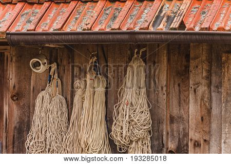 fishnet on wood wall