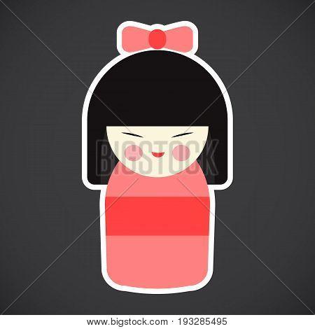 Kokeshi doll vector flat icon Flat design of kawaii Japanese girl sticker isolated on the dark background cute vector illustration