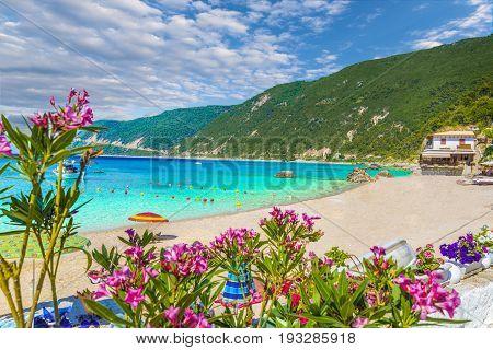 Agios Nikitas beach and resort in Lefkada Greece