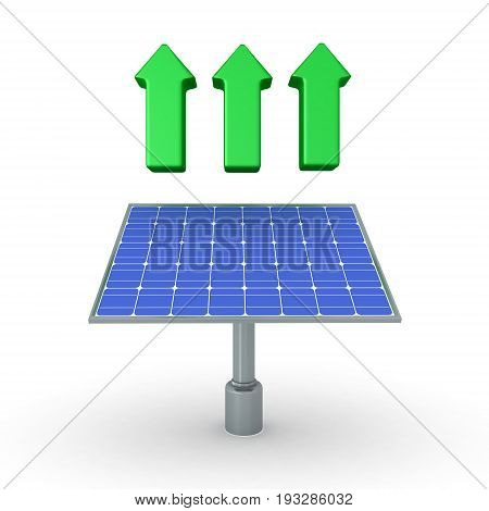 3D Illustration Of Solar Panel With Three Green Arrows Above It