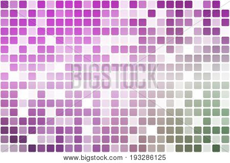 Purple green pink occasional opacity vector square tiles mosaic over white background