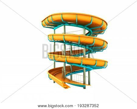 Aqua Park Yellow Blue 3D Rendering On White Background No Shadow