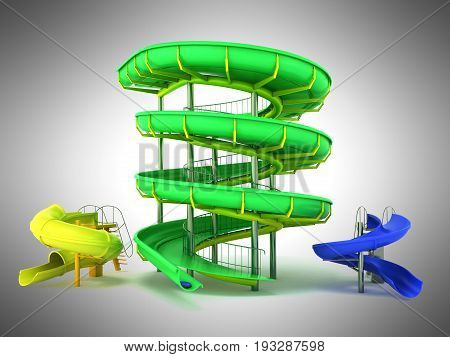 Waterpark Slides Green Yellow Blue 3D Rendering On Gray Background