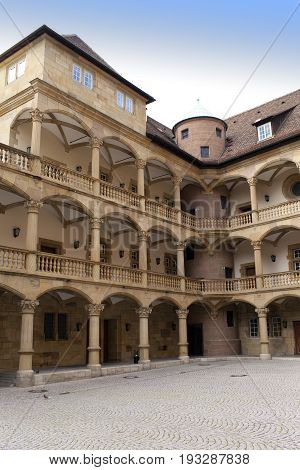 courtyard of the Old Castle (10th century) in Stuttgart