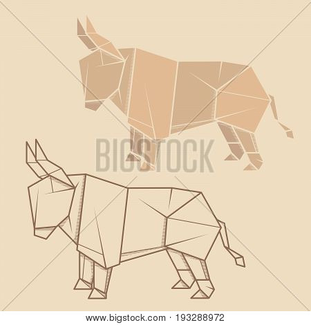 Set vector simple illustration paper origami and contour drawing of bull.