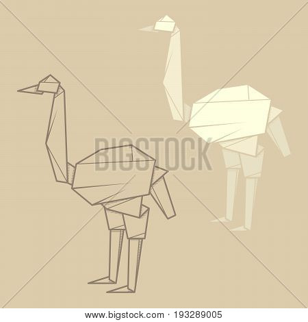 Set vector simple illustration paper origami and contour drawing of ostrich.