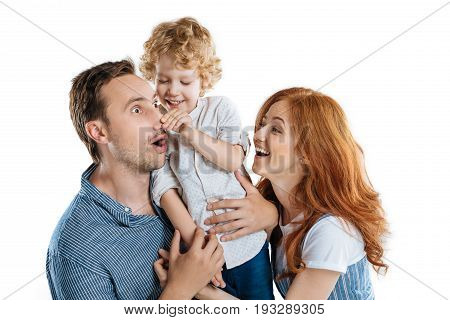 Happy Young Parents With Adorable Little Son Having Fun Together Isolated On White