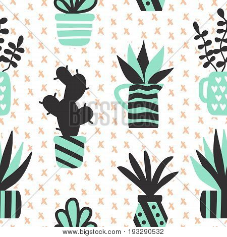 Vector seamless pattern with black succulents and houseplants in vase. Modern Scandinavian style background. Greeting card, invitation, textile print, wallpaper, interior design. Trendy home decor