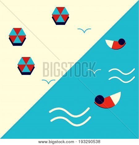 Modern geometric postmodernist or minimalist styled illustration: sea beach resort with swimmers, beach umbrellas or parasols and seagulls. Great as summer resort promotion materials template.