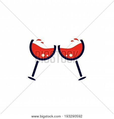 Two minimalistic wineglasses cheering or clinking. Toasting red wine glasses icon.