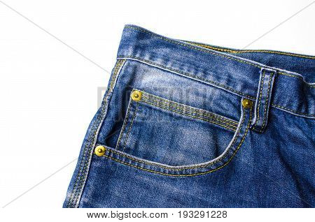 close up view of front pocket vintage blue denim jeans pant fashion isolated on white background texture background selective focus
