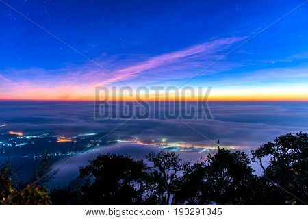 Landscape Of Sunrise On Mountain Valley At Doi Luang Chiang Dao, Chiangmai Thailand