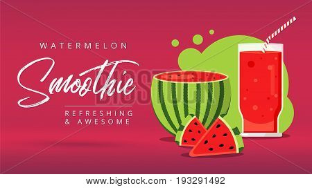 Slices Of Watermelon With Glass Of Fresh Juice Web Ad Background. Juicy Refreshing Cocktail Drink. S