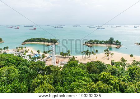 Aerial View Of Tropical Beach In Sentosa Island