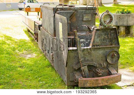 Bad Gastein, Austria - June 09, 2017: Old Mining Truck In Front Of The Health Resort Heilstollen, A
