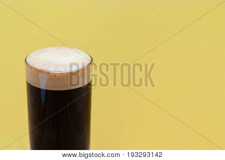 Espresso. Double Shot Of Espresso In A Tall Coffee Glass On Bright Background