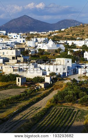 Triovasalos village on Milos island in Greece.