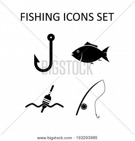Fishing icons set. Vector symbols. Flat design