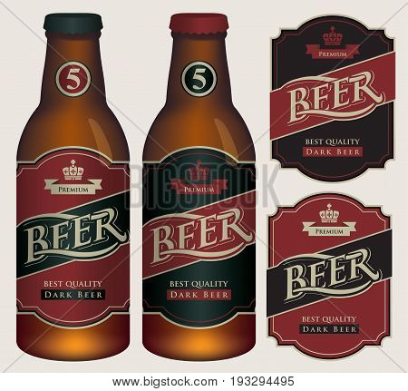 Two vector beer labels in retro style on black and red background. Templates labels for dark beer on glass bottles.