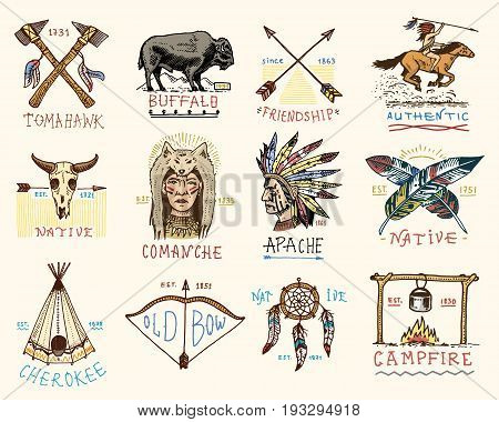 set of engraved vintage, hand drawn, old, labels or badges for indian or native american. buffalo, axes and tent, arrows and bow, skull, Dreamcatcher and cherokee, tomahawk