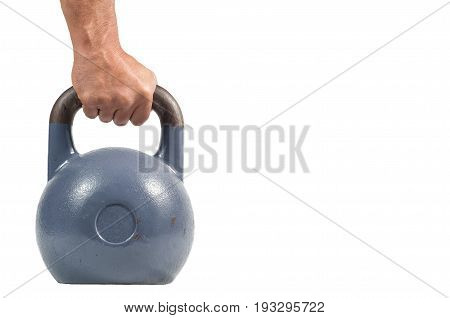 Kettle bell. Hand holding Kettle bell. Isolated on a white background.