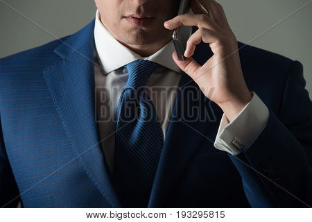 Mobile Or Cell Phone In Male Hand