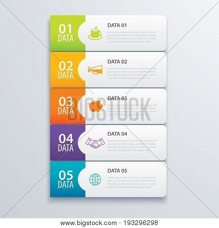5 infographic tab index banner design vector and marketing template business. Can be used for workflow layout diagram annual report web design. Business concept with steps processes.
