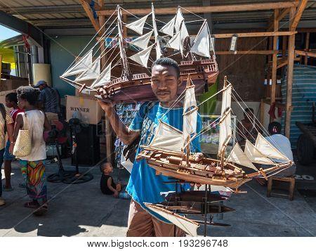 Toamasina Madagascar - December 22 2017: Street vendor selling Model Sailing Ships in Toamasina (Tamatave) Madagascar East Africa.