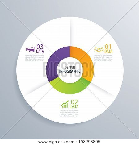 3 business circle infographic background template with data. Can be used for workflow layout graph presentation chart diagram annual report web design steps or processes.