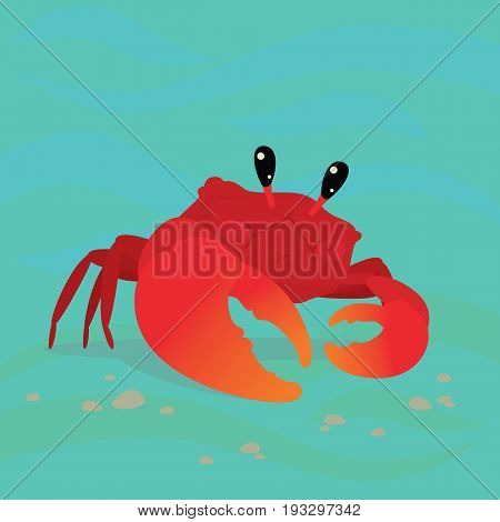 Cute Crab in a cool pose underwater. Colorful vector illustration of sea life character Red Crab with orange claw in flat cartoon style on the background of blue waves and some little stones.