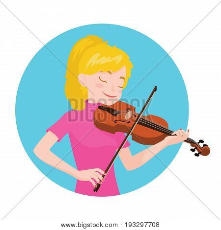 Musician playing violin. Girl violinist is inspired to play a classical musical instrument. Vector illustration in cartoon style in the blue circle on white background for your design and print.