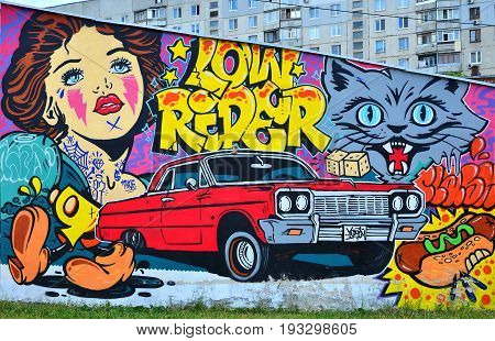 A Detailed Image Of Graffiti Drawing. Conceptual Street Art Background With Cartoon Characters, A Re