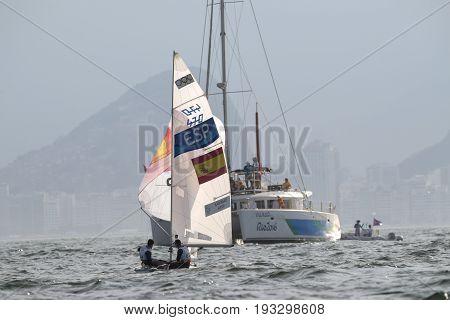 Rio de Janeiro Brazil - august 15 2016: XAMMAR HERNANDEZ Jordi (Helm) HERP MORELL Joan (Crew) during men's 470 class sailing on the Rio 2016 Olympics Games