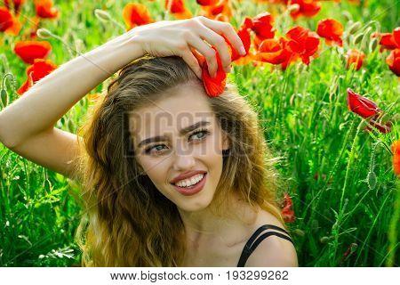 Pretty Woman Or Happy Girl In Field Of Poppy Seed
