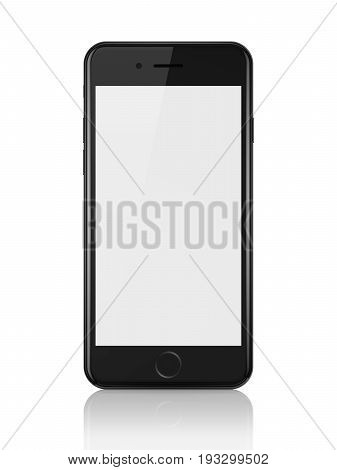 MINSK, BELARUS - JUNE 26, 2017: 3d render of black iPhone 7 with blank white screen on white background. iPhone is modern smartphone developed by Apple Inc.