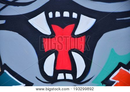 A Detailed Image Of The Graffiti Drawing. A Conceptual Street Art Background With A Muzzle Of An Evi