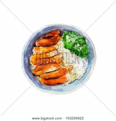 Chicken teriyaki with rice and vegetables watercolor illustration isolated on white background.