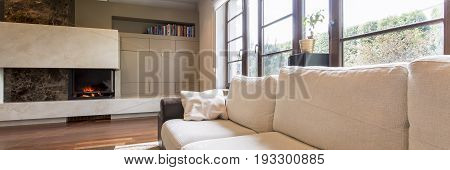Sofa and fireplace in modern living room