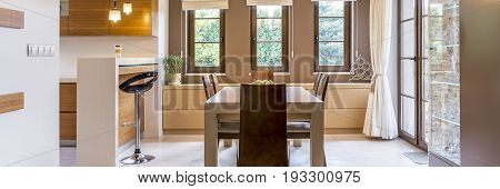 Dining room and kitchen in modern style