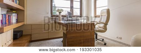Panoramic photo of workplace in the house
