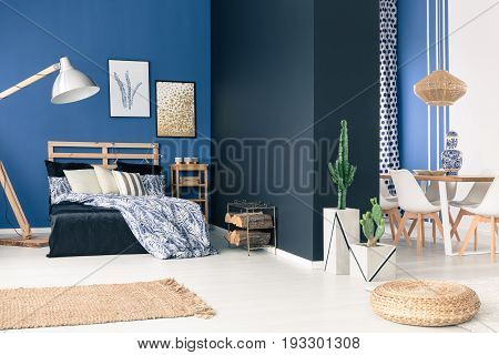Multifunctional blue loft space for young person