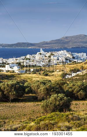 View of Adamantas harbour town of Milos island in Greece.