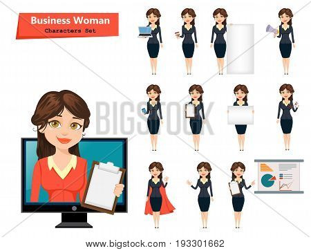 Businesswoman with various things. Set of cute cartoon character. Vector illustration isolated on white background